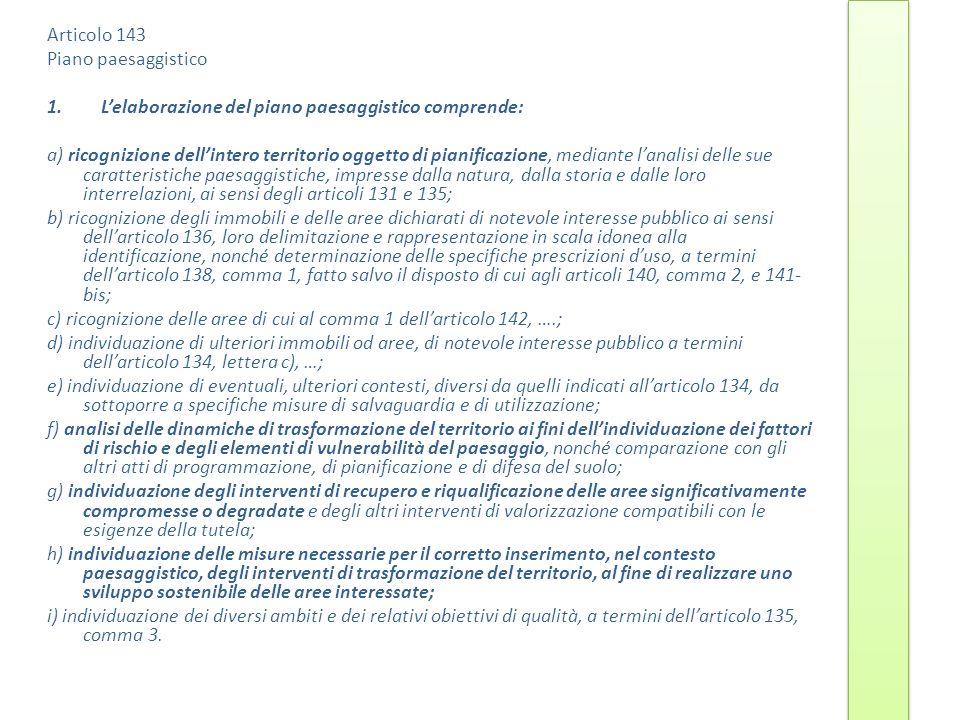 Articolo 143 Piano paesaggistico. L'elaborazione del piano paesaggistico comprende:
