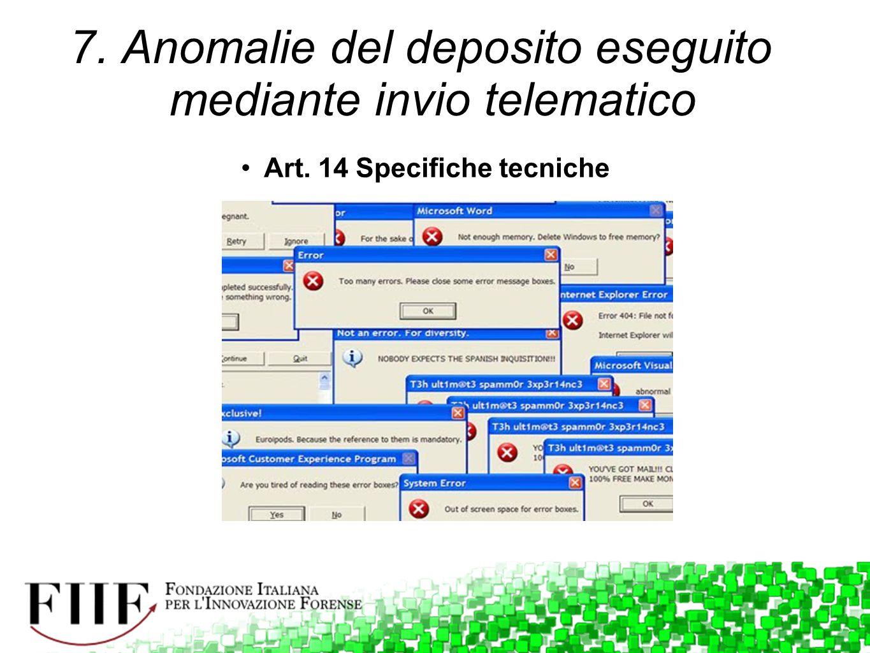 7. Anomalie del deposito eseguito mediante invio telematico