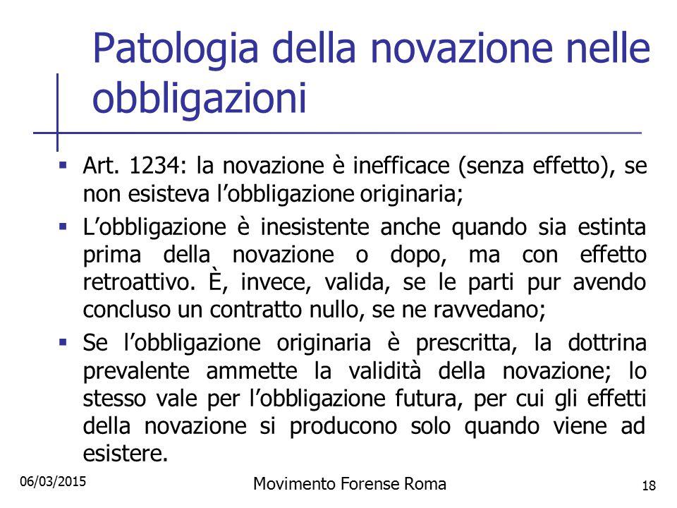 Patologia della novazione nelle obbligazioni