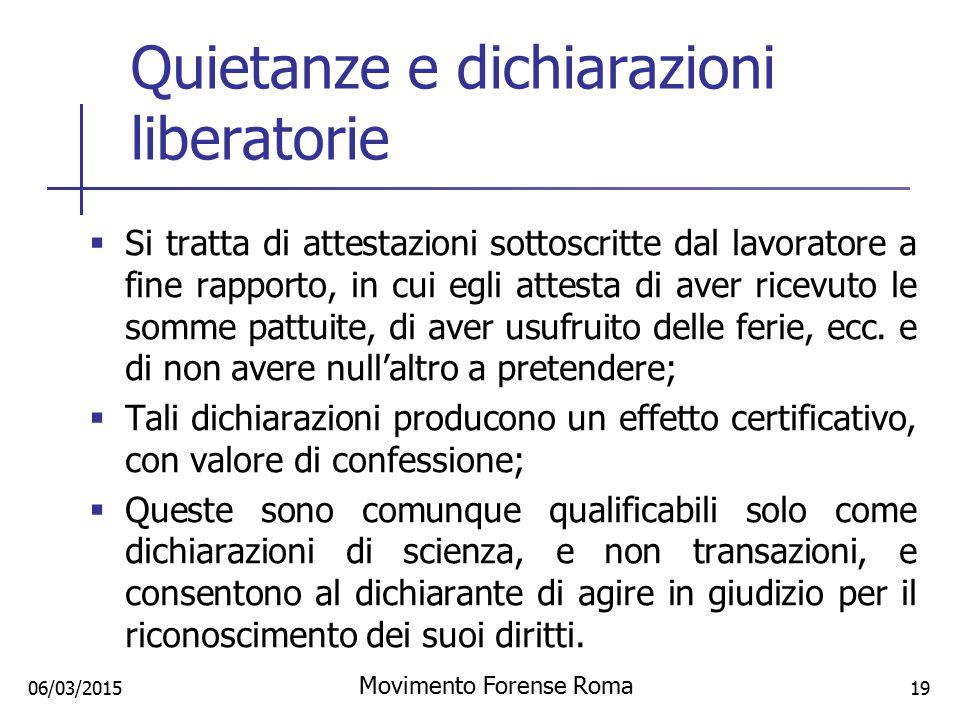 Quietanze e dichiarazioni liberatorie