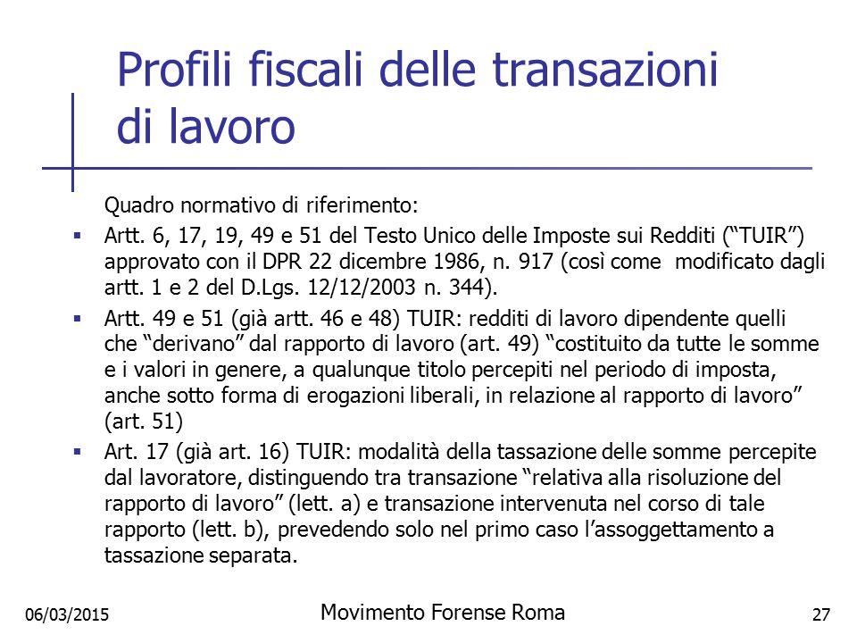 Profili fiscali delle transazioni di lavoro