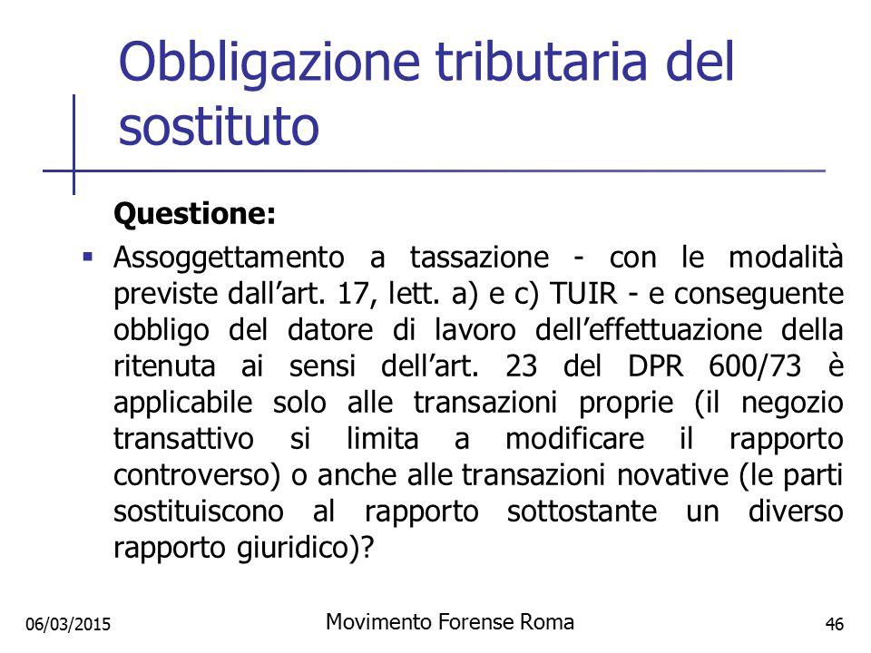 Obbligazione tributaria del sostituto