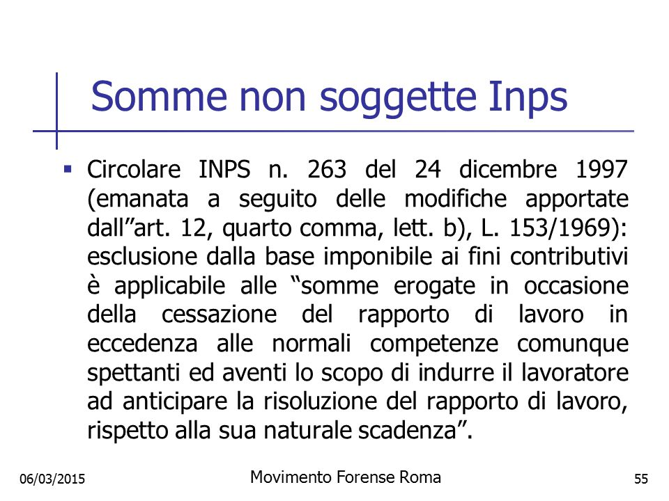 Somme non soggette Inps