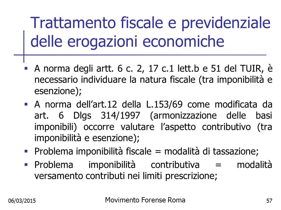 Trattamento fiscale e previdenziale delle erogazioni economiche