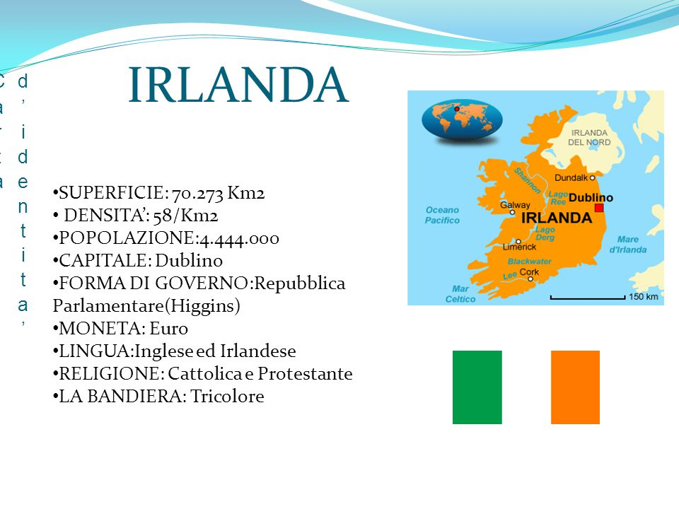 IRLANDA Carta d'identita' SUPERFICIE: 70.273 Km2 DENSITA': 58/Km2