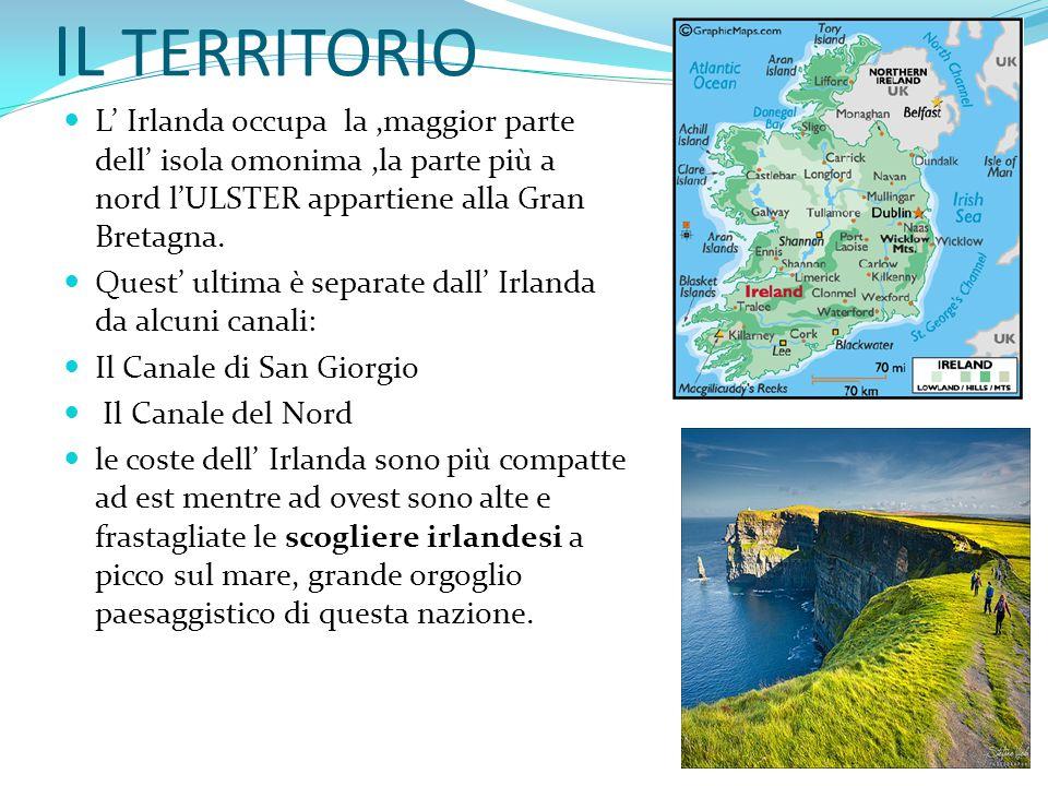 IL TERRITORIO L' Irlanda occupa la ,maggior parte dell' isola omonima ,la parte più a nord l'ULSTER appartiene alla Gran Bretagna.