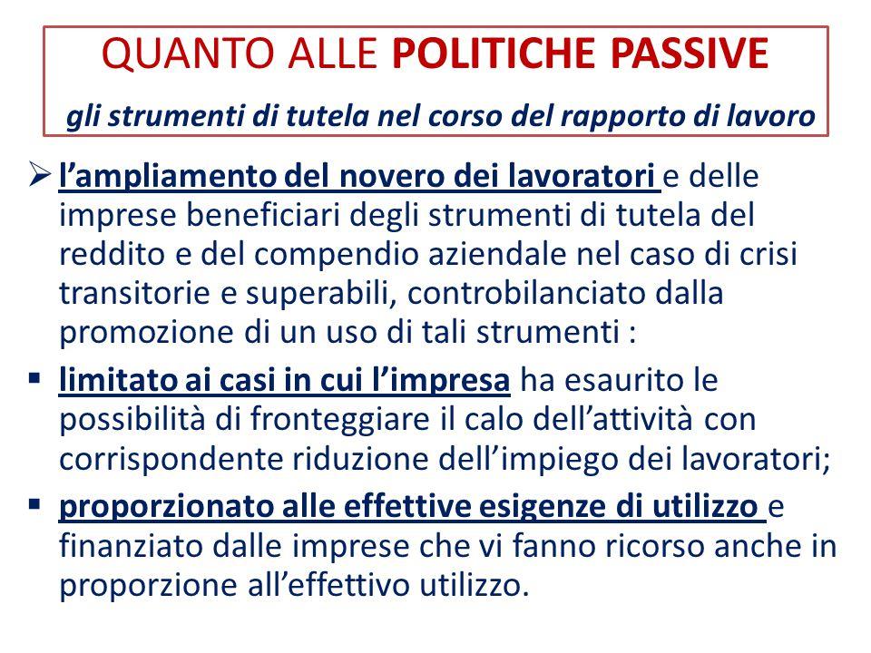 QUANTO ALLE POLITICHE PASSIVE gli strumenti di tutela nel corso del rapporto di lavoro