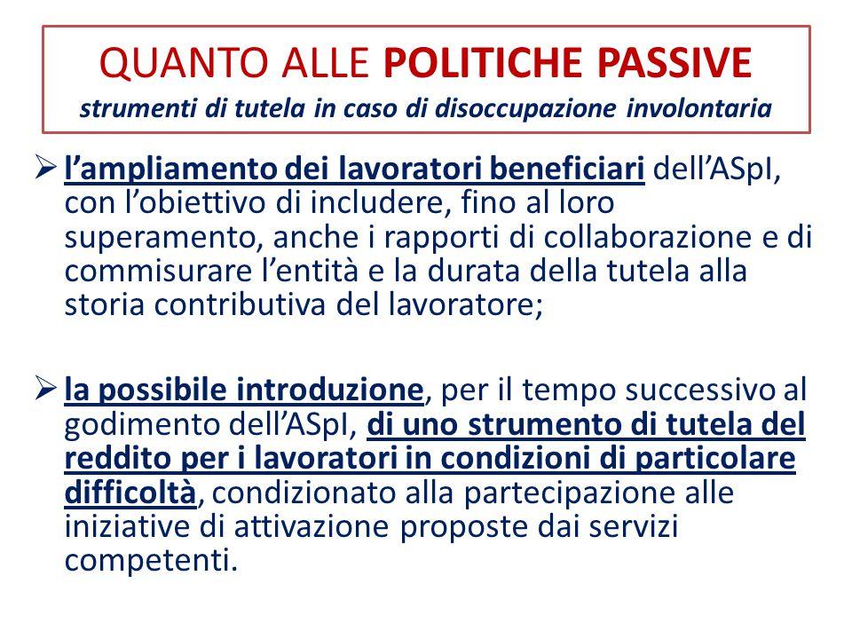QUANTO ALLE POLITICHE PASSIVE strumenti di tutela in caso di disoccupazione involontaria