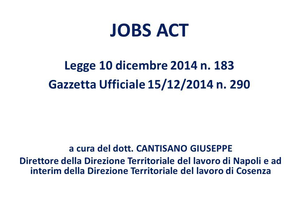 Legge 10 dicembre 2014 n. 183 Gazzetta Ufficiale 15/12/2014 n. 290