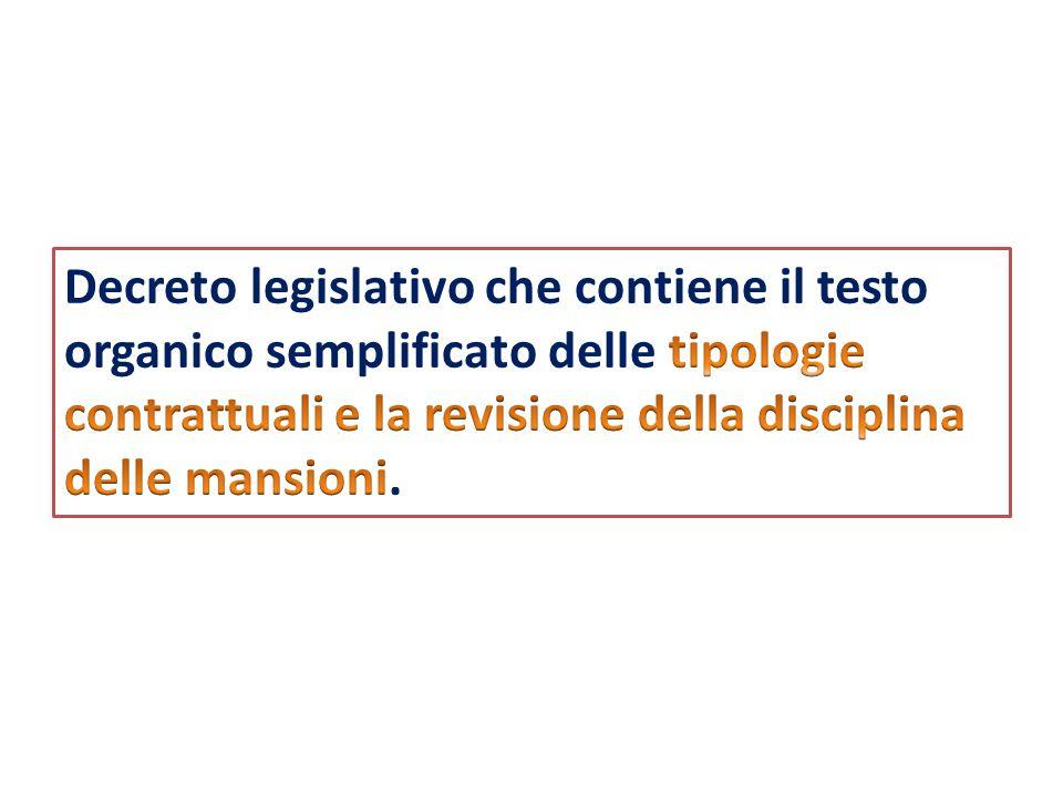 Decreto legislativo che contiene il testo organico semplificato delle tipologie contrattuali e la revisione della disciplina delle mansioni.