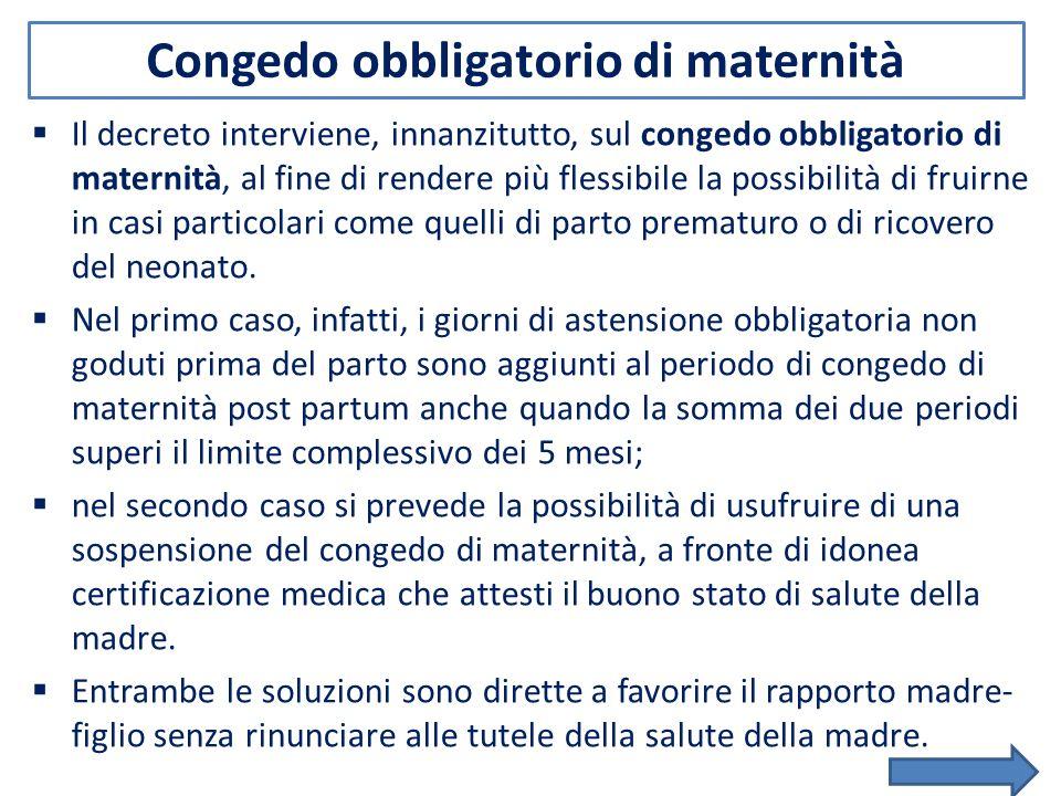 Congedo obbligatorio di maternità