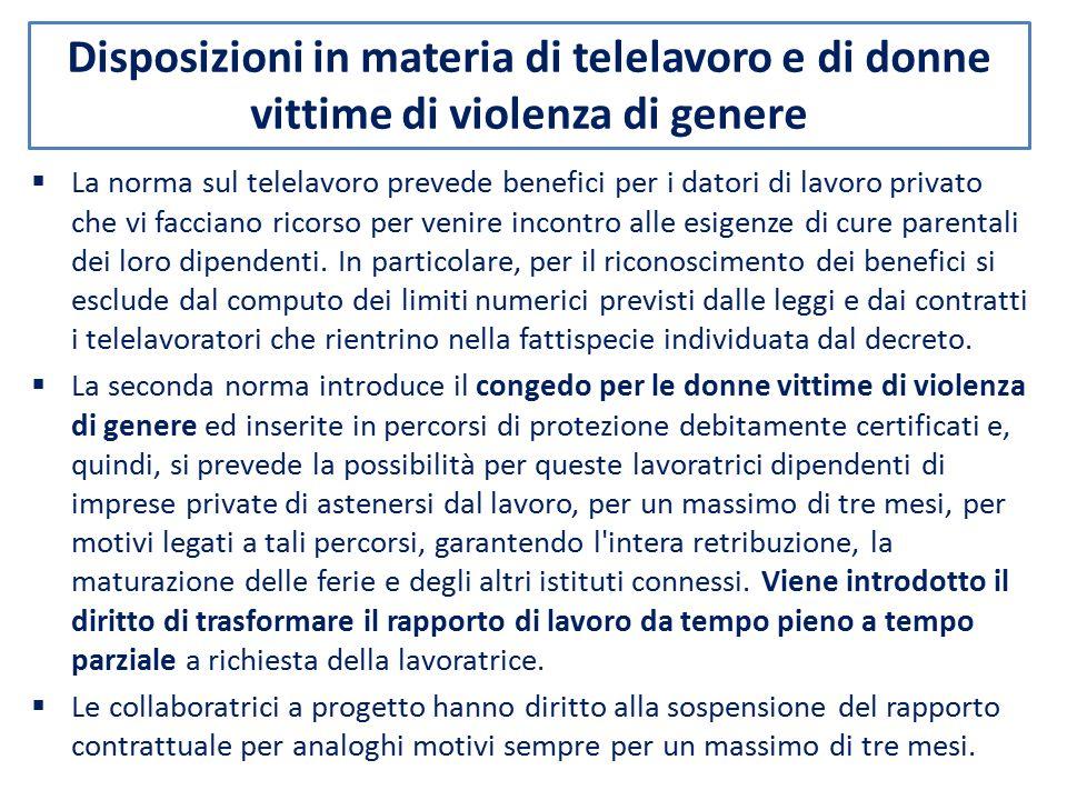 Disposizioni in materia di telelavoro e di donne vittime di violenza di genere