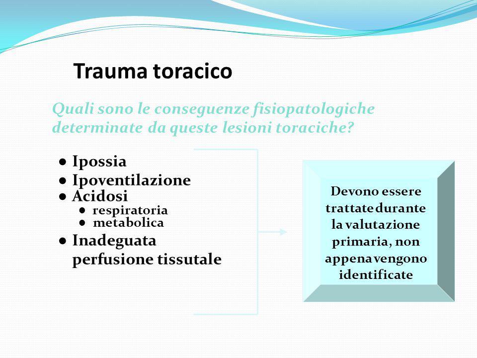 Trauma toracico Quali sono le conseguenze fisiopatologiche determinate da queste lesioni toraciche