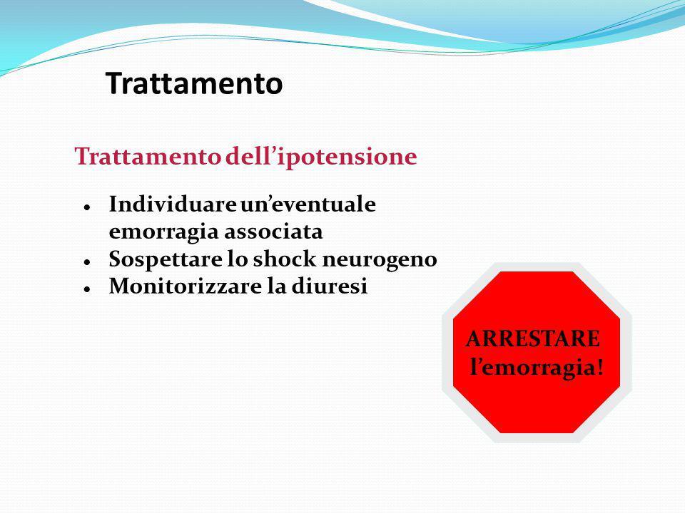 Trattamento Trattamento dell'ipotensione ARRESTARE l'emorragia!