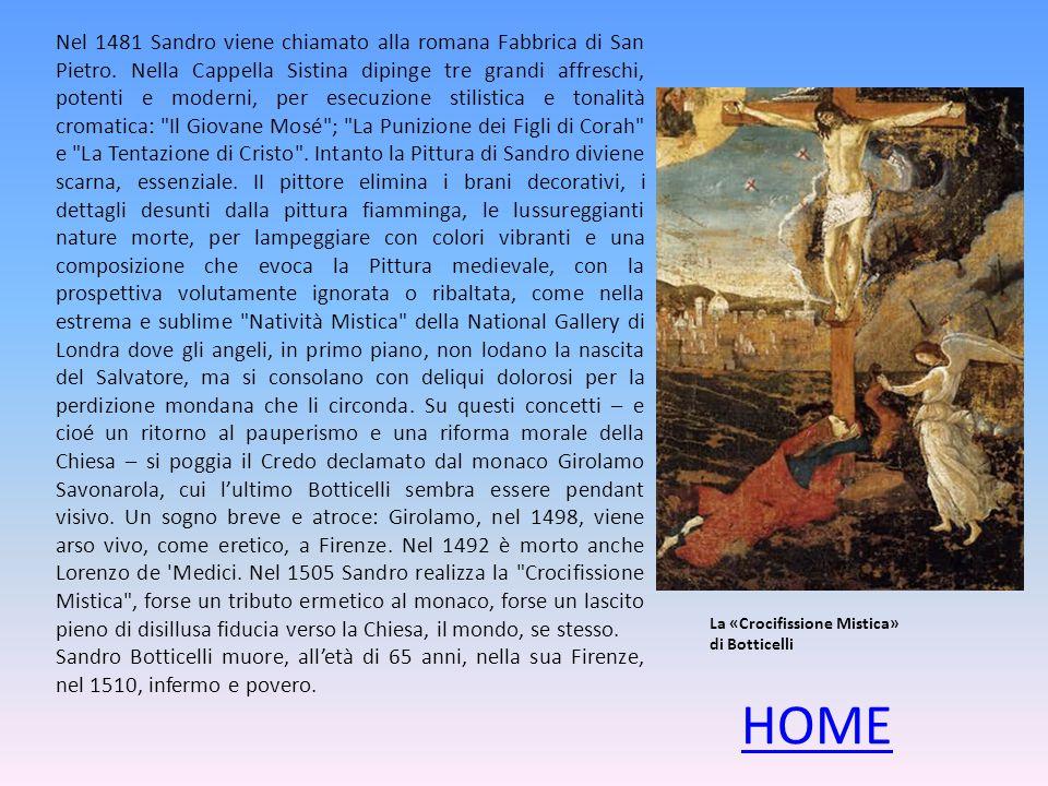 Nel 1481 Sandro viene chiamato alla romana Fabbrica di San Pietro