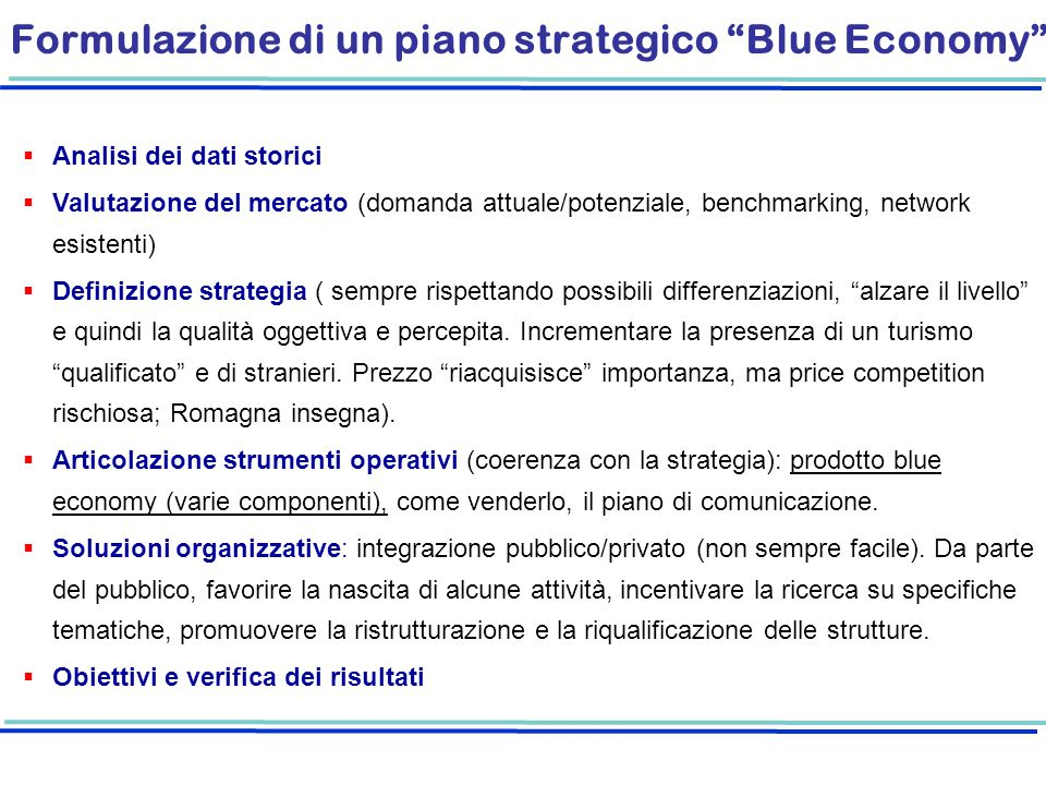 Formulazione di un piano strategico Blue Economy