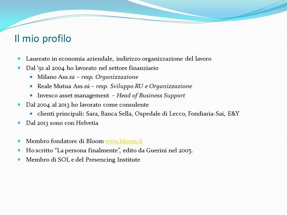 Il mio profilo Laureato in economia aziendale, indirizzo organizzazione del lavoro. Dal '91 al 2004 ho lavorato nel settore finanziario.