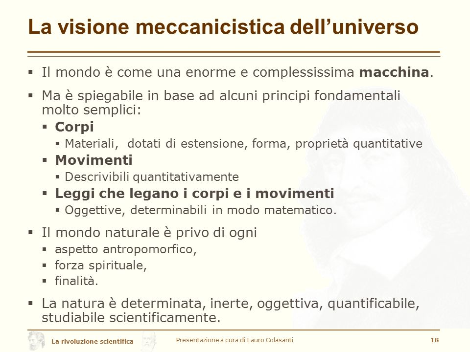 La visione meccanicistica dell'universo