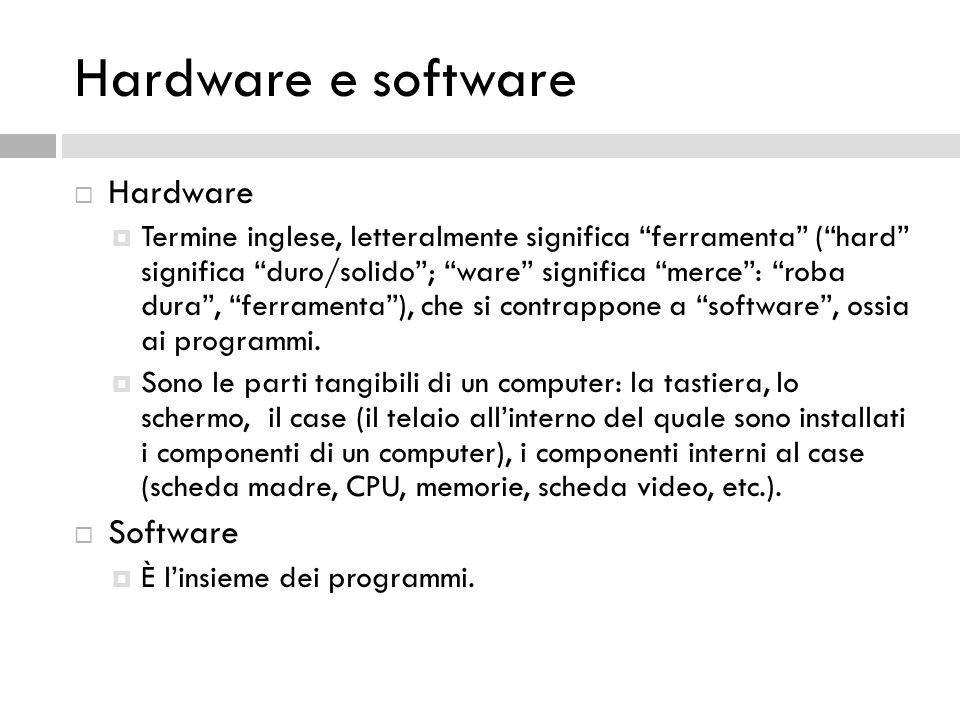 Hardware e software Hardware Software