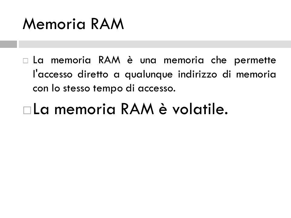 La memoria RAM è volatile.