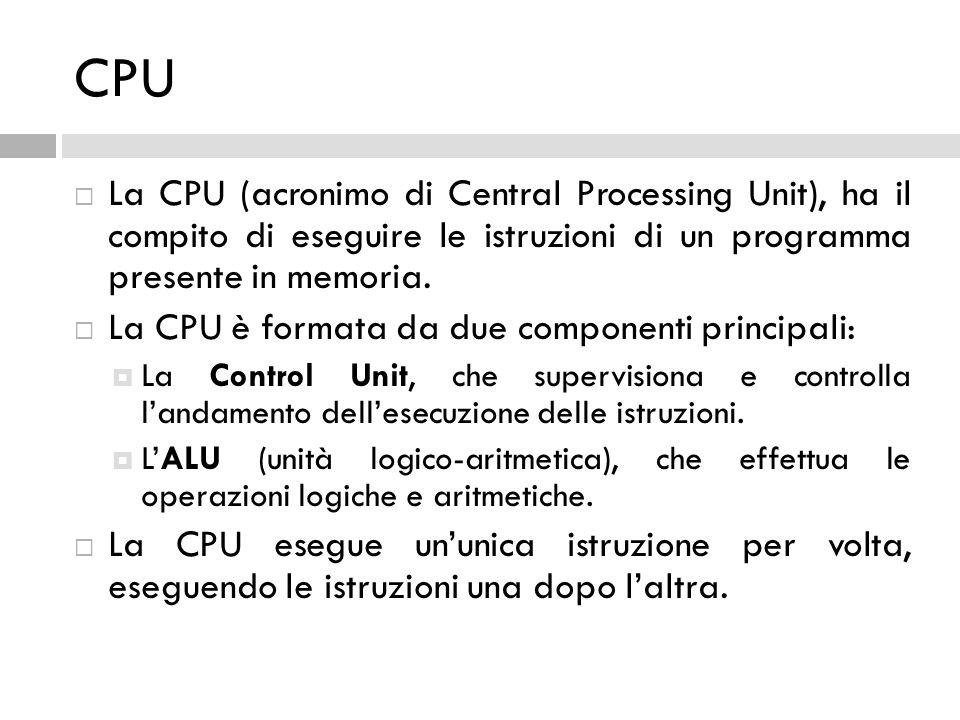 CPU La CPU (acronimo di Central Processing Unit), ha il compito di eseguire le istruzioni di un programma presente in memoria.
