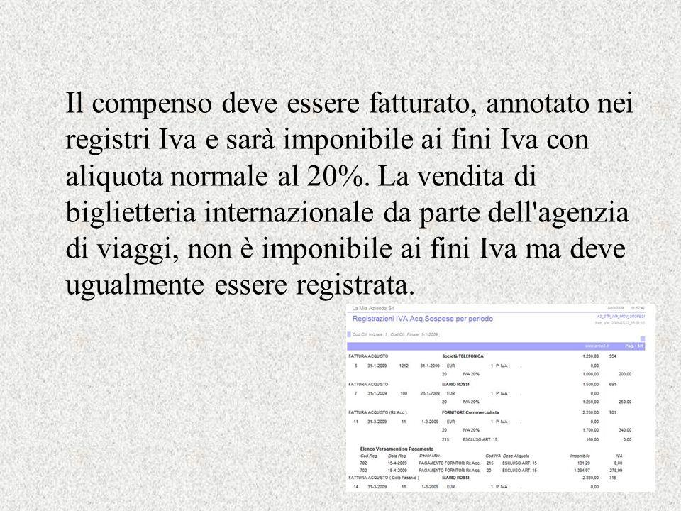 Il compenso deve essere fatturato, annotato nei registri Iva e sarà imponibile ai fini Iva con aliquota normale al 20%.