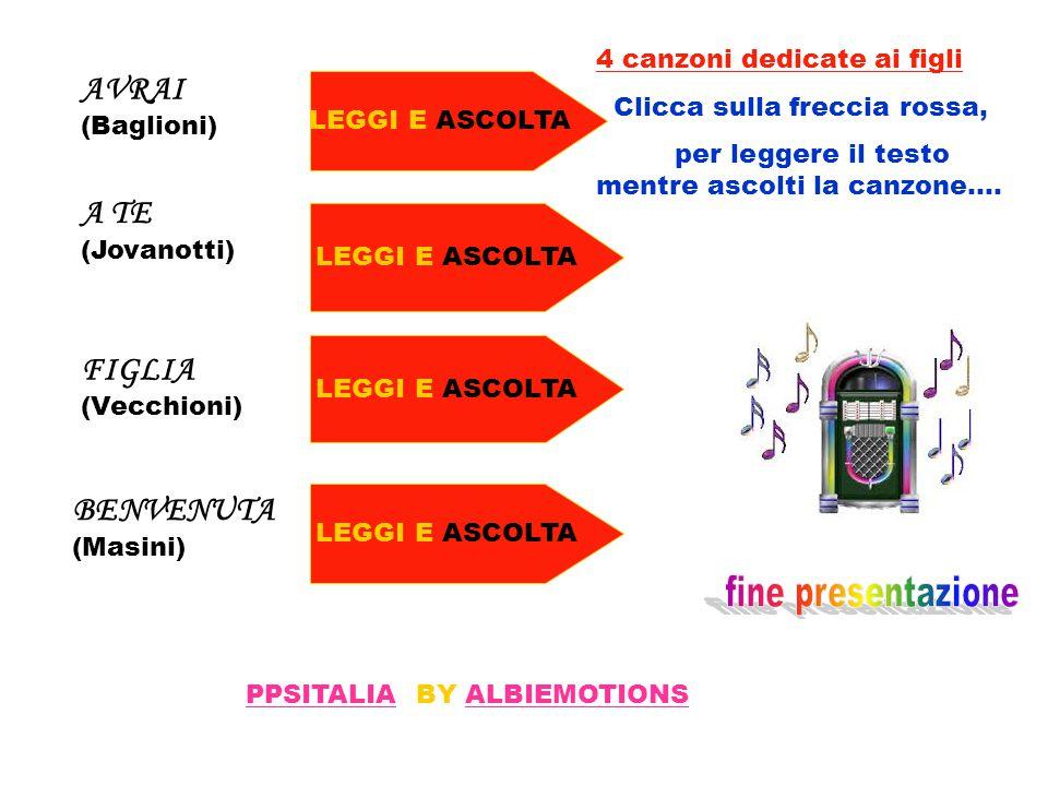 AVRAI (Baglioni) A TE (Jovanotti) FIGLIA (Vecchioni) BENVENUTA(Masini)
