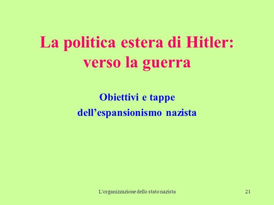 La politica estera di Hitler: verso la guerra