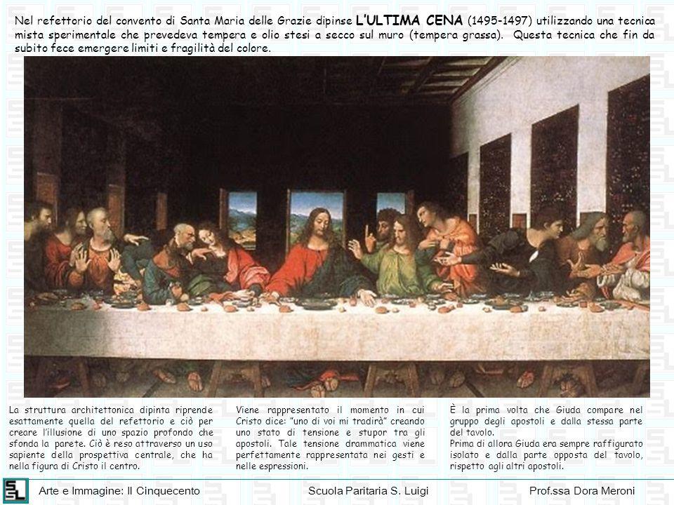 Nel refettorio del convento di Santa Maria delle Grazie dipinse L'ULTIMA CENA (1495-1497) utilizzando una tecnica mista sperimentale che prevedeva tempera e olio stesi a secco sul muro (tempera grassa). Questa tecnica che fin da subito fece emergere limiti e fragilità del colore.