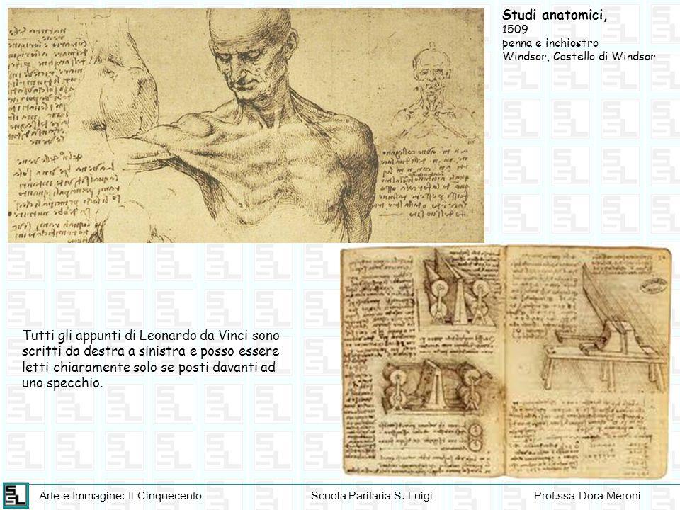 Studi anatomici, 1509. penna e inchiostro. Windsor, Castello di Windsor.