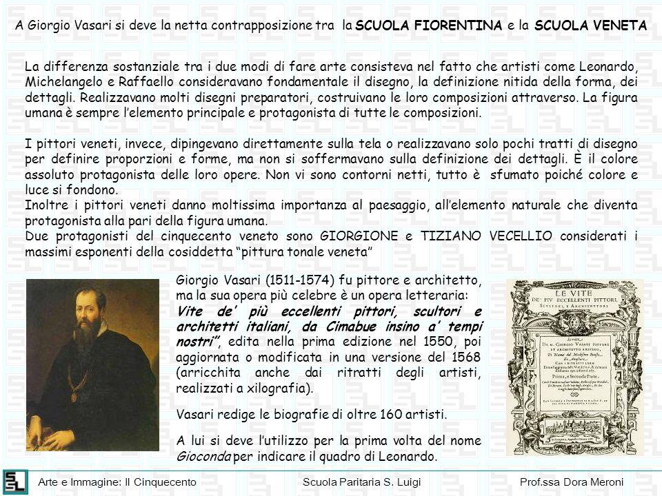 A Giorgio Vasari si deve la netta contrapposizione tra la SCUOLA FIORENTINA e la SCUOLA VENETA