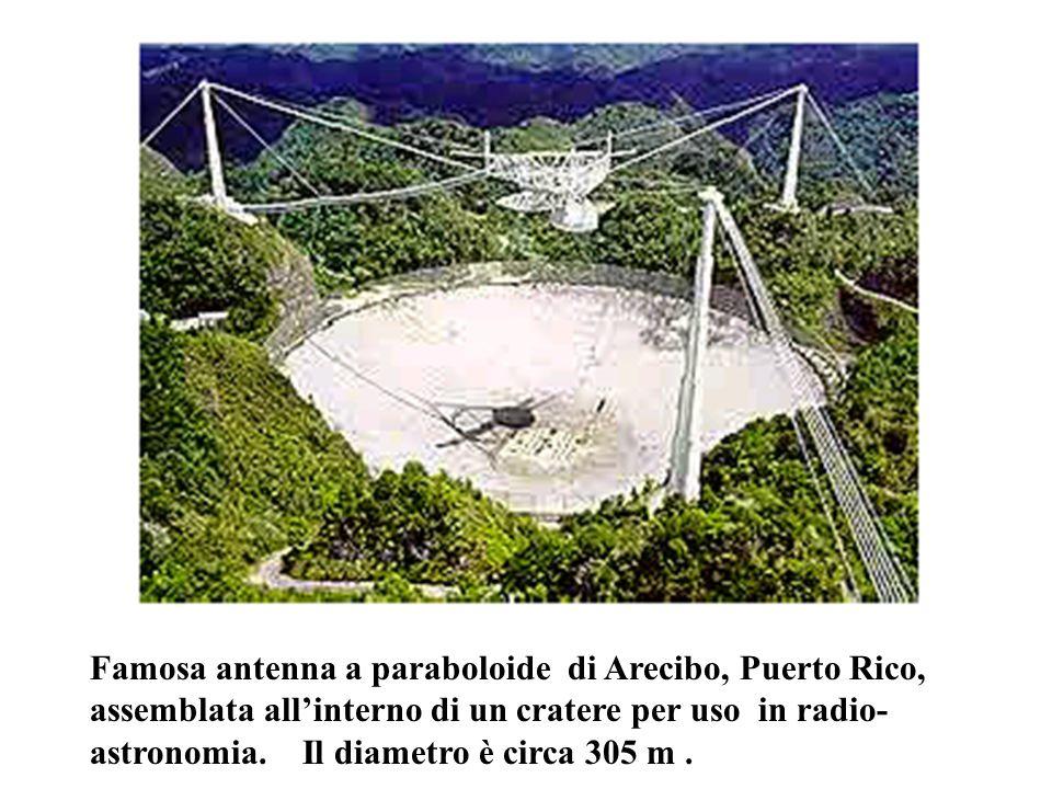 Famosa antenna a paraboloide di Arecibo, Puerto Rico, assemblata all'interno di un cratere per uso in radio-astronomia.