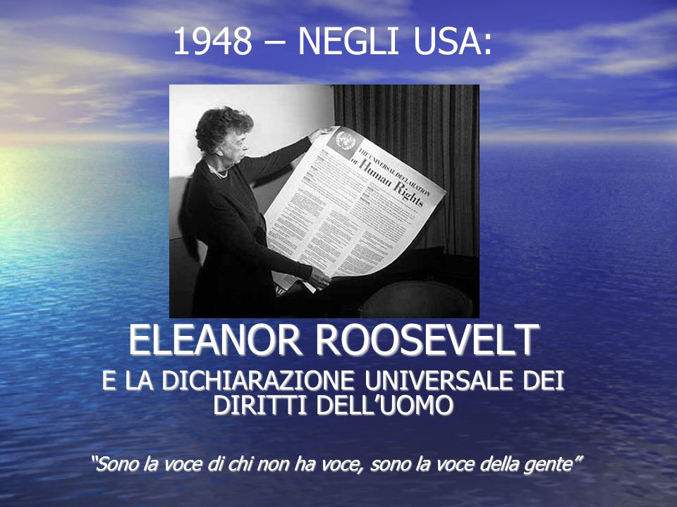 ELEANOR ROOSEVELT 1948 – NEGLI USA: