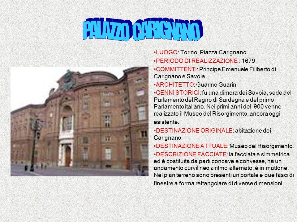PALAZZO CARIGNANO LUOGO: Torino, Piazza Carignano