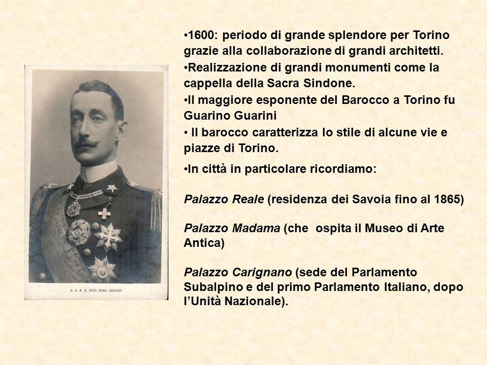 1600: periodo di grande splendore per Torino grazie alla collaborazione di grandi architetti.