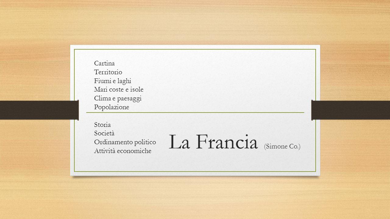 La Francia (Simone Co.) Cartina Territorio Fiumi e laghi