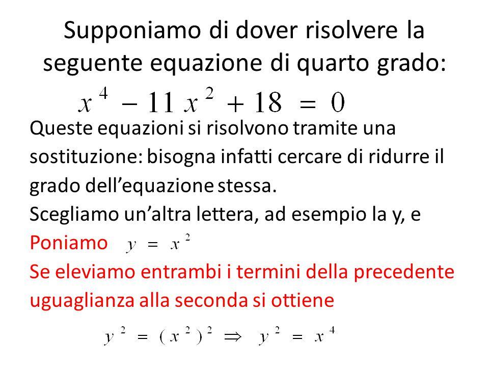 Supponiamo di dover risolvere la seguente equazione di quarto grado:
