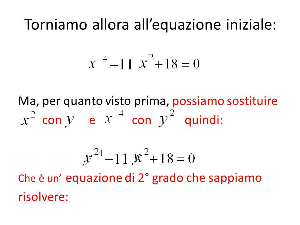 Torniamo allora all'equazione iniziale: