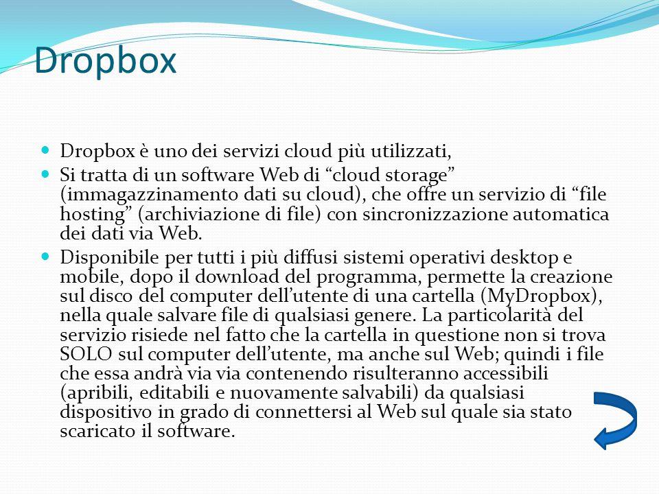 Dropbox Dropbox è uno dei servizi cloud più utilizzati,