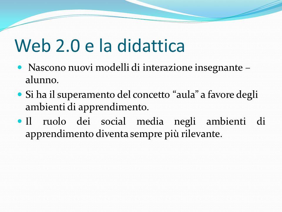 Web 2.0 e la didattica Nascono nuovi modelli di interazione insegnante – alunno.