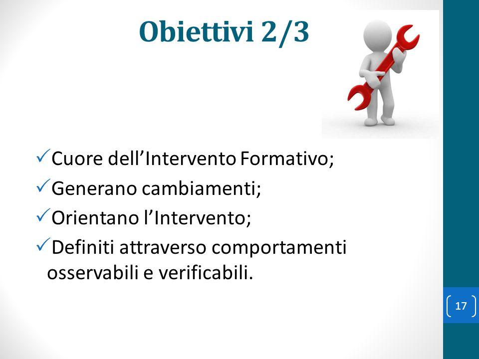 Obiettivi 2/3 Cuore dell'Intervento Formativo; Generano cambiamenti;