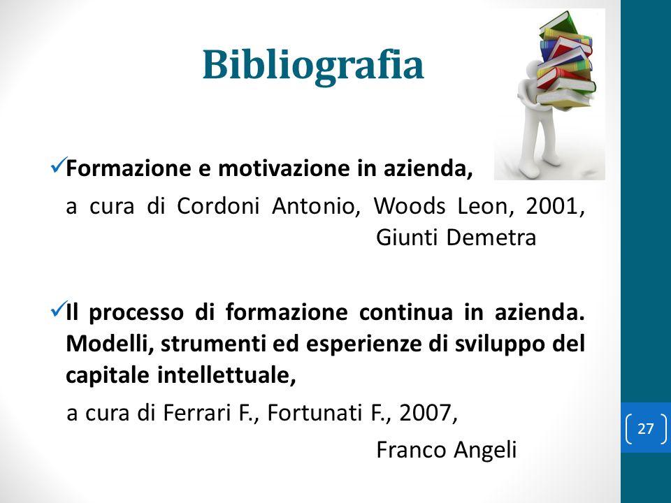 Bibliografia Formazione e motivazione in azienda,