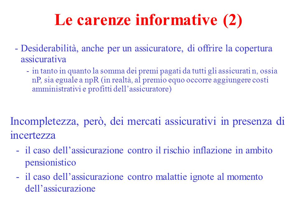 Le carenze informative (2)