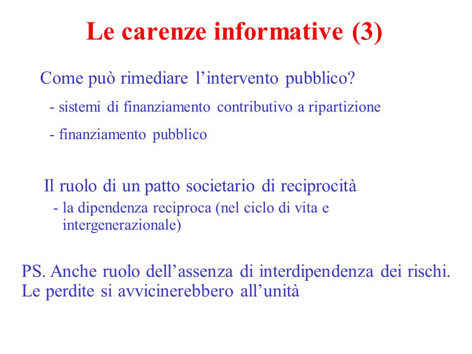 Le carenze informative (3)