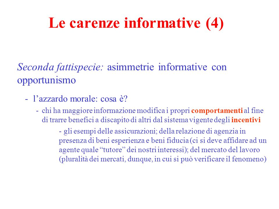Le carenze informative (4)