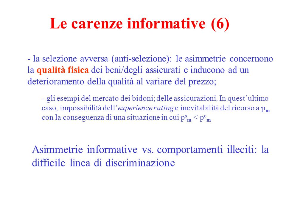 Le carenze informative (6)