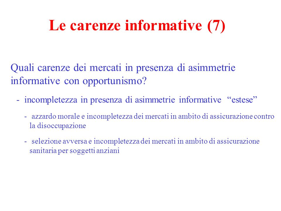 Le carenze informative (7)