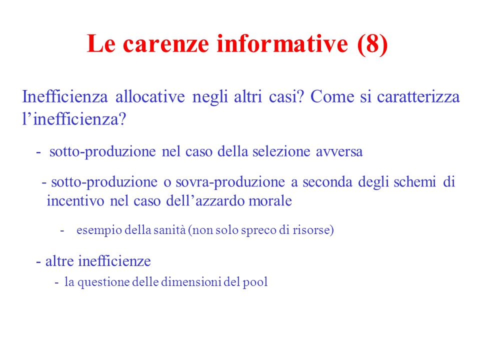 Le carenze informative (8)