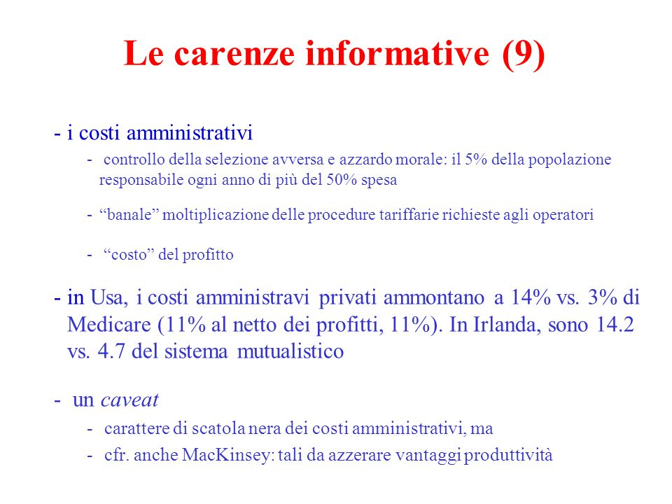 Le carenze informative (9)