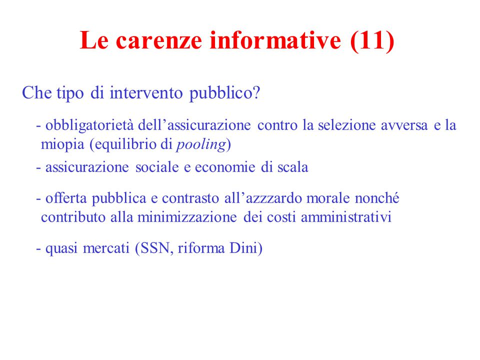 Le carenze informative (11)